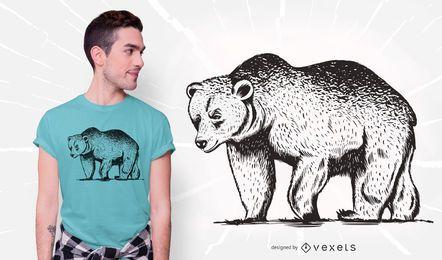 Projeto do t-shirt do urso pardo