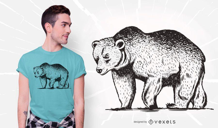 Diseño de camiseta de oso grizzly