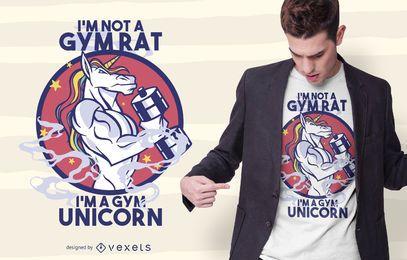 Design de t-shirt de unicórnio de ginásio