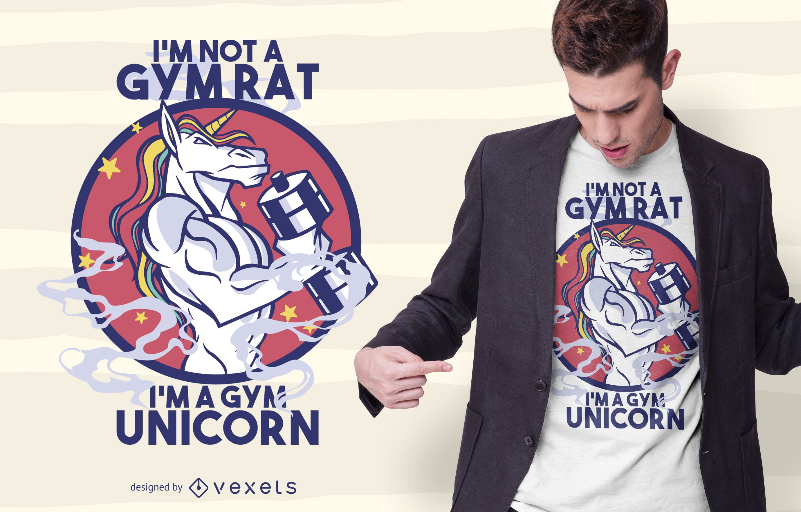 Design de t-shirt de unicórnio para ginásio