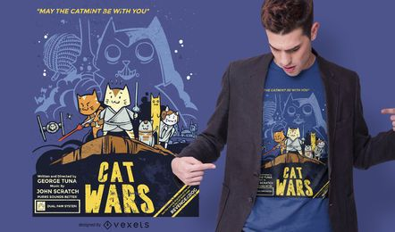 Diseño de camiseta divertida de Cat Wars