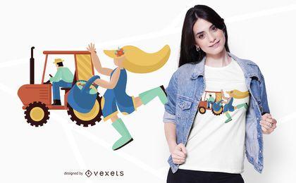 Design de t-shirt de pessoas de trator agrícola