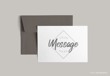 Carta com maquete de envelope