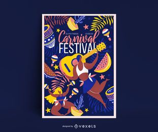 Diseño de carteles del festival de carnaval