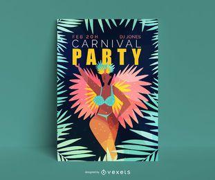 Design de pôster editável para festa de carnaval