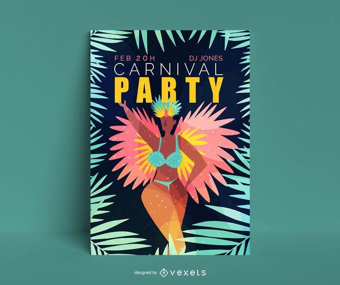 Diseño de cartel editable de fiesta de carnaval