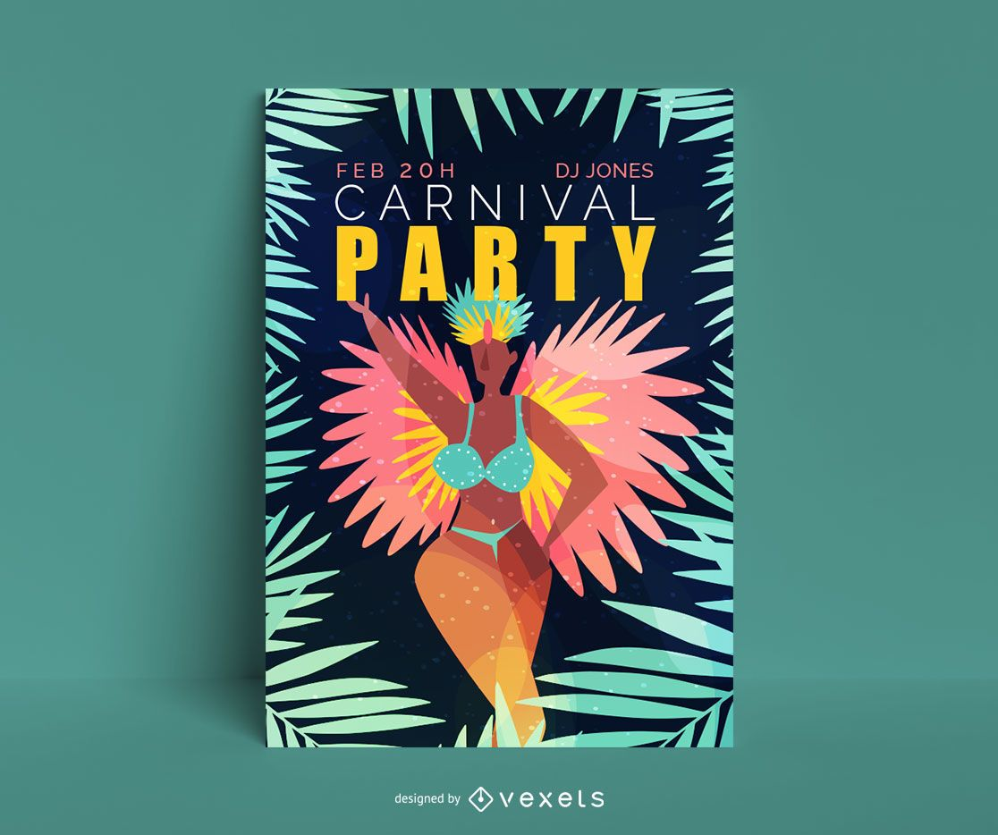 Carnival Party Editable Poster Design - Vector download