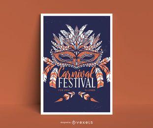 Design de cartaz de máscara de carnaval