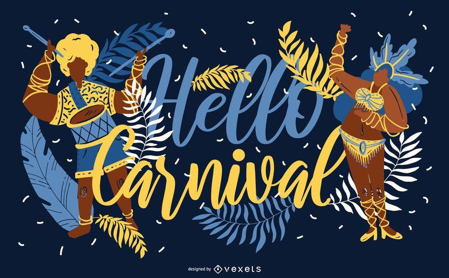Hola diseño de banner de carnaval