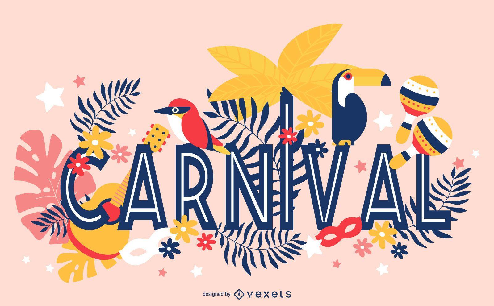 Design de ilustração para letras de carnaval