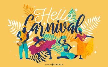Hola diseño de letras de carnaval