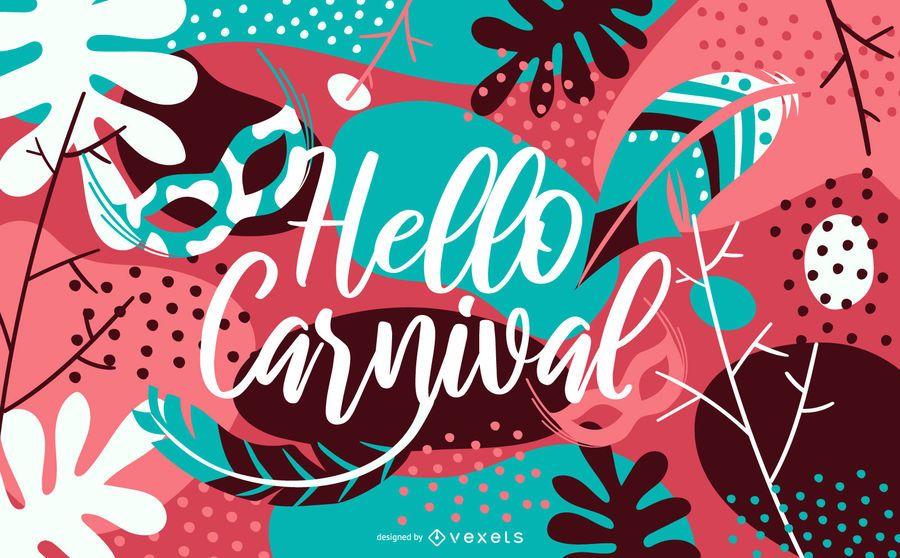 Hello Carnival Lettering Illustration