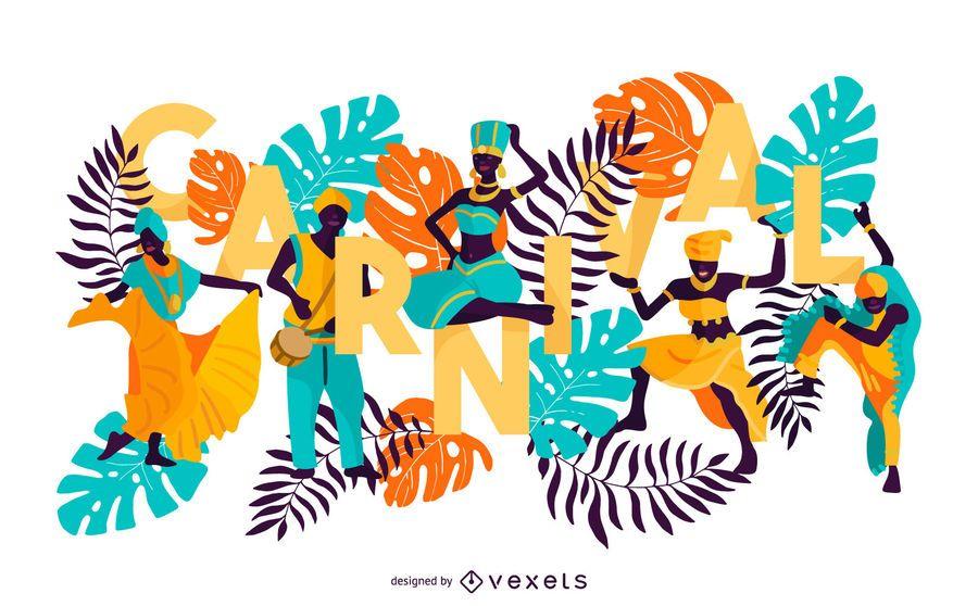 Projeto de letras coloridas de carnaval