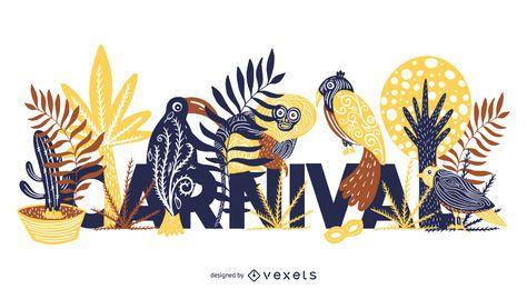 Design de letras de animais tropicais carnaval