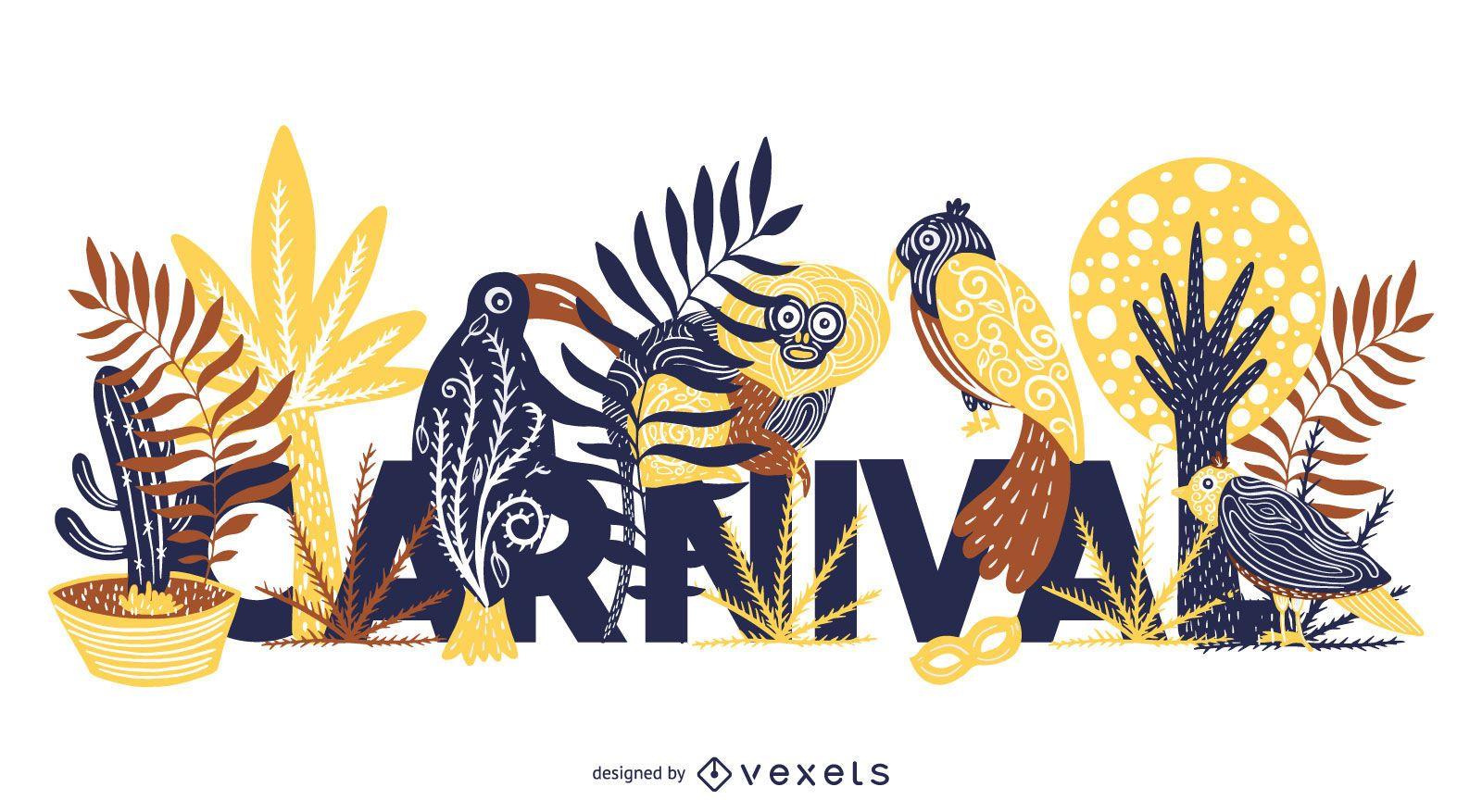 Diseño de letras de animales tropicales de carnaval