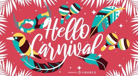 Hallo künstlerische Briefgestaltung des Karnevals