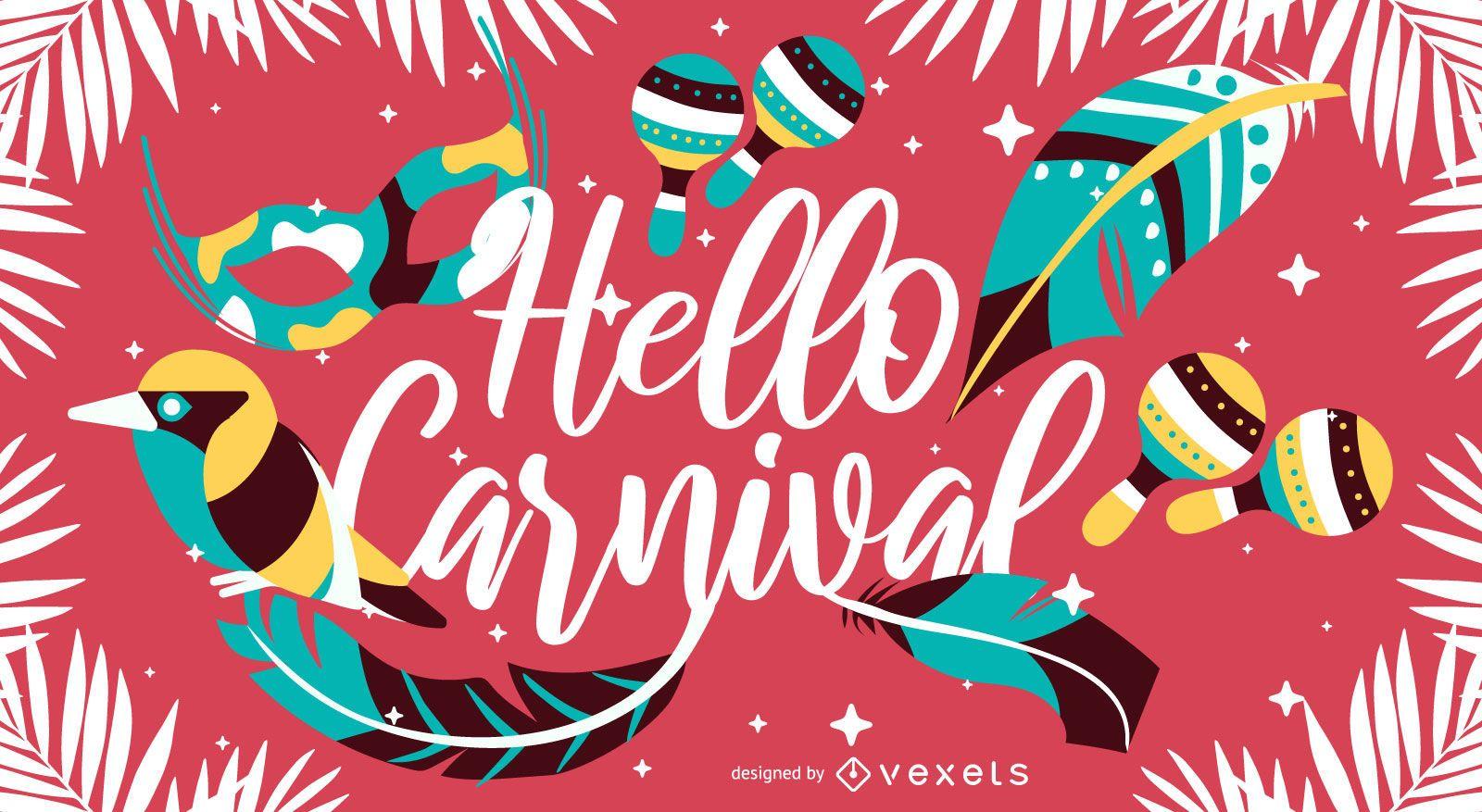 Hola diseño de letras artísticas de carnaval