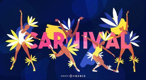 Diseño de letras de bailarina de carnaval