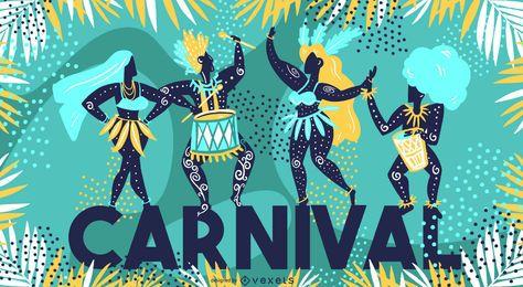 Projeto sazonal da ilustração do carnaval