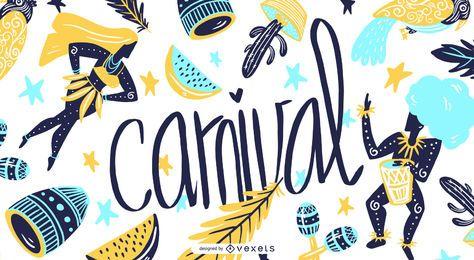 Gráfico de ilustração sazonal de carnaval