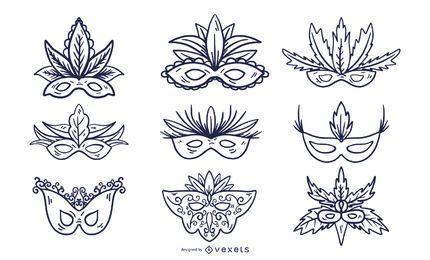 Conjunto de estilos de traçado de máscara de carnaval