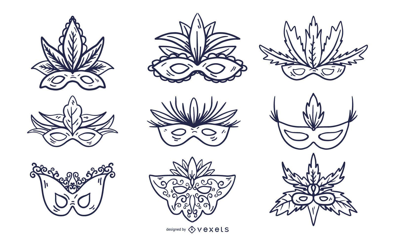 Conjunto de estilo de trazo de máscara de carnaval