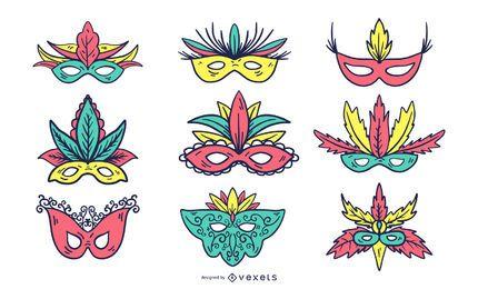 Conjunto de máscara colorida de carnaval