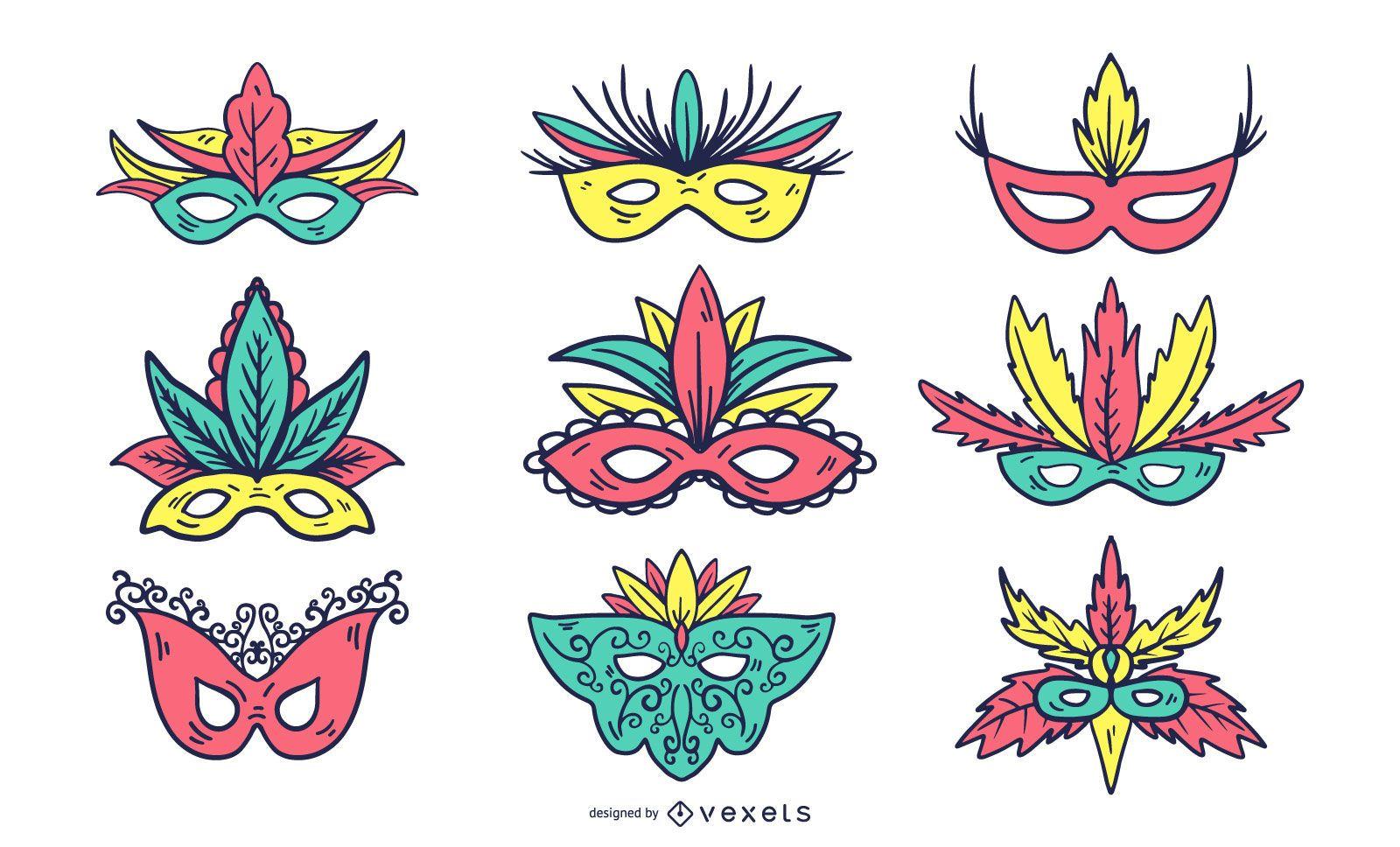 Conjunto de máscara de carnaval colorido