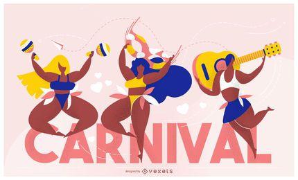 Diseño de letras de mujeres de carnaval
