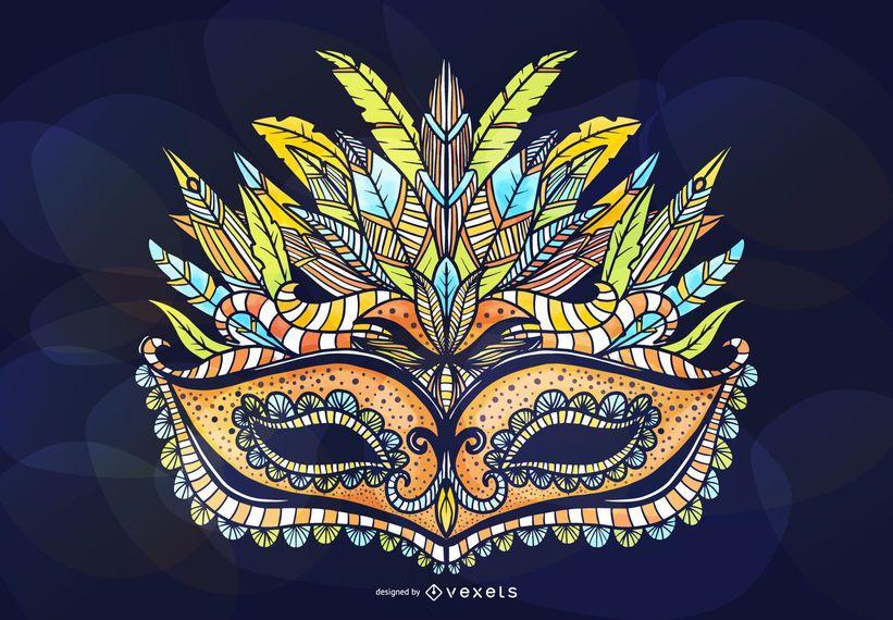 Diseño de máscara ornamental de mascarada
