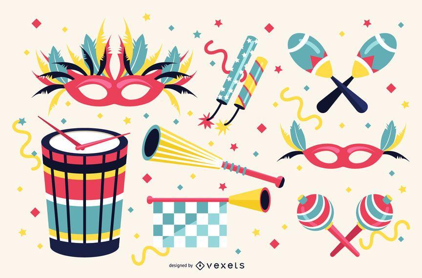 Conjunto de ilustração de elementos de carnaval