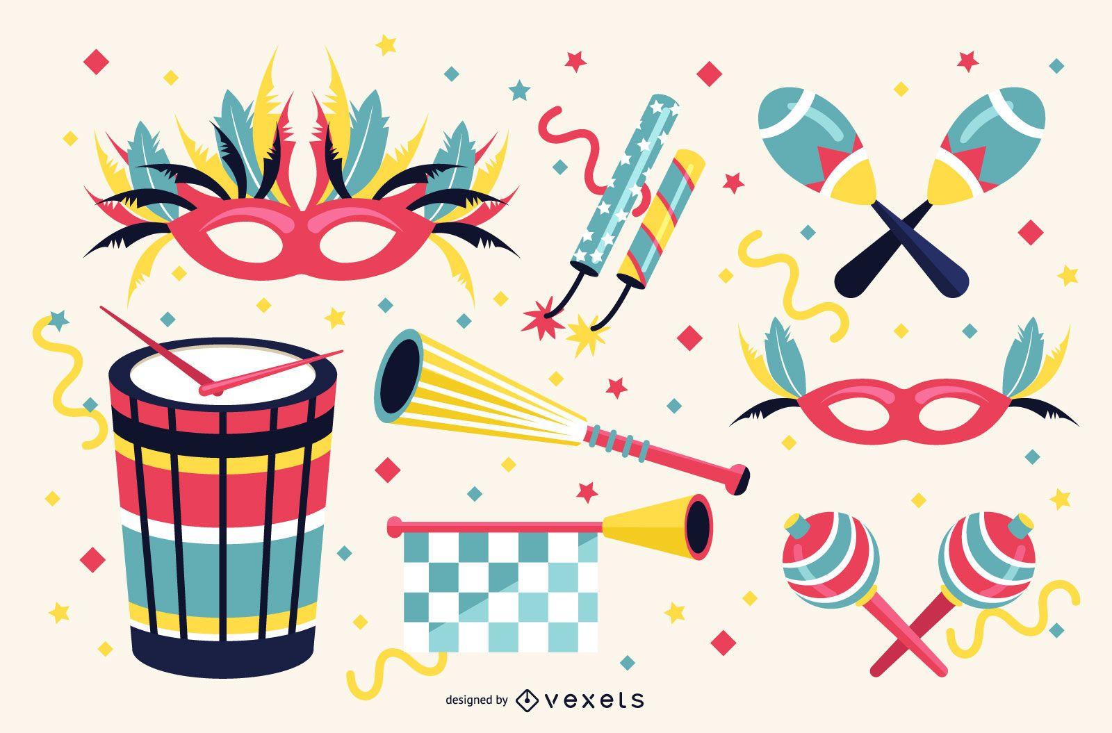 Carnival Elements Illustration Set