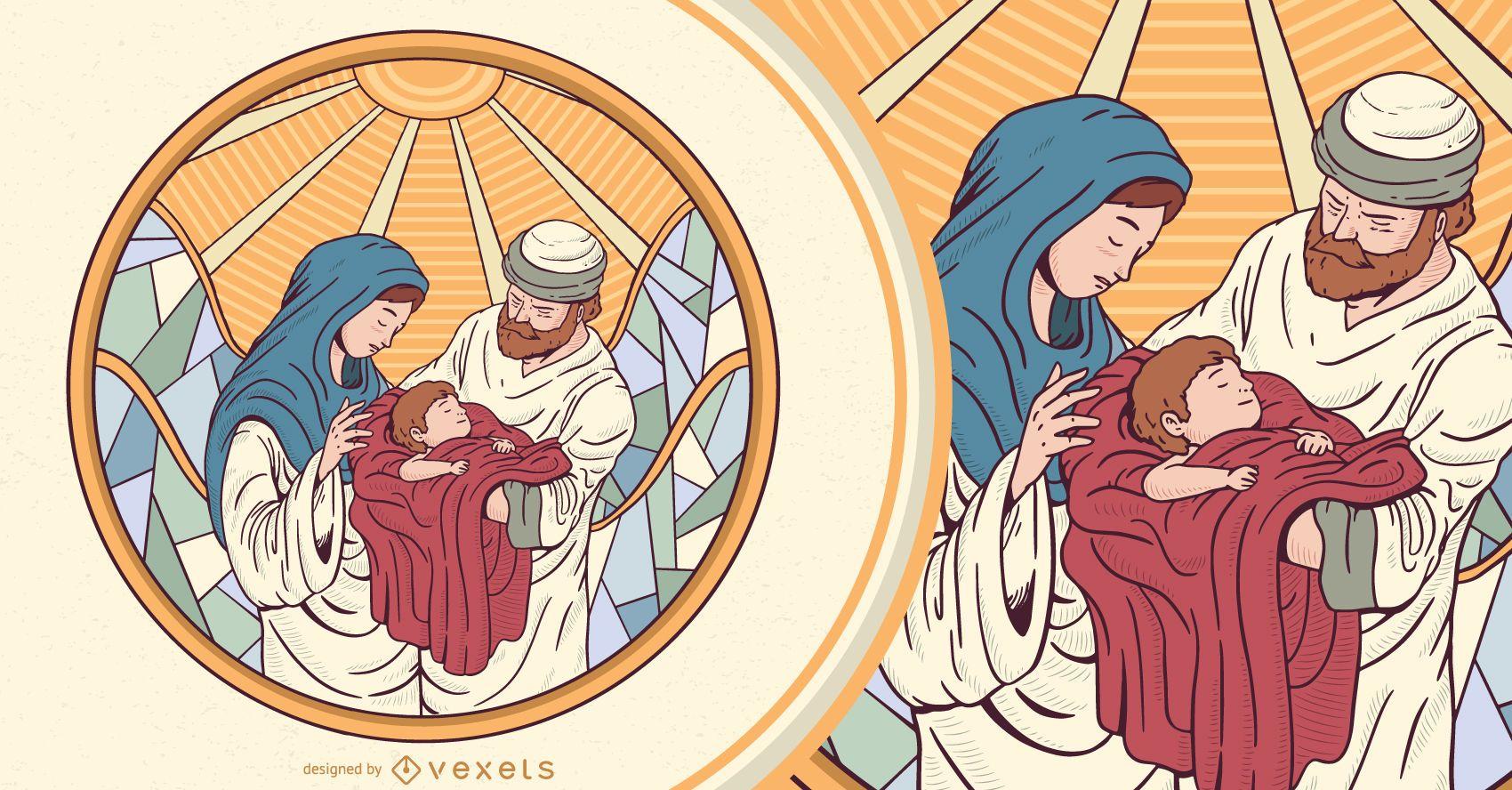 Diseño de ilustración de la Natividad de Jesús