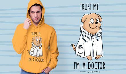 Diseño de camiseta de perro doctor