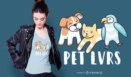 Diseño de camiseta de amantes de las mascotas.