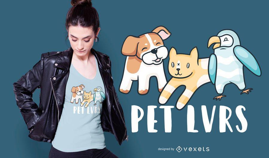 Diseño de camiseta de amantes de mascotas