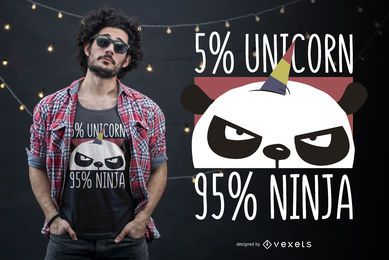 Design de t-shirt ninja unicórnio