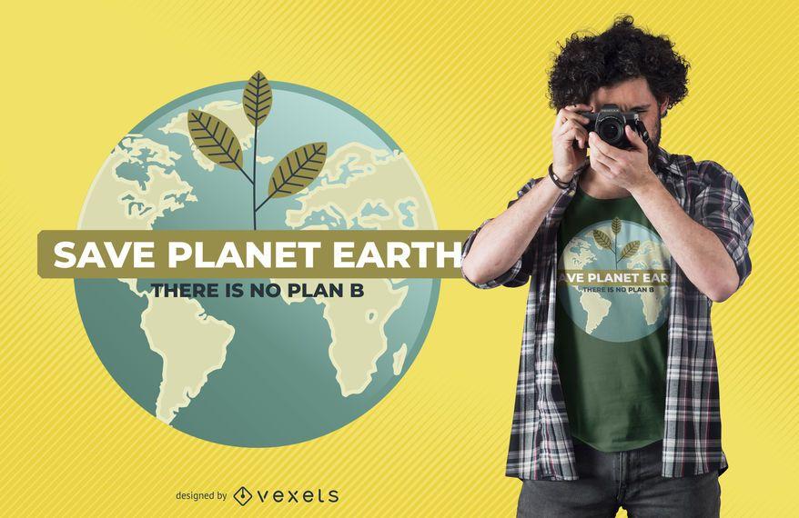 Ahorre el diseño de la camiseta del planeta tierra