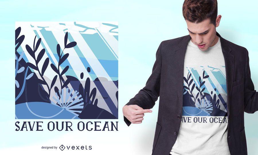 Salvar nosso design de t-shirt de oceano