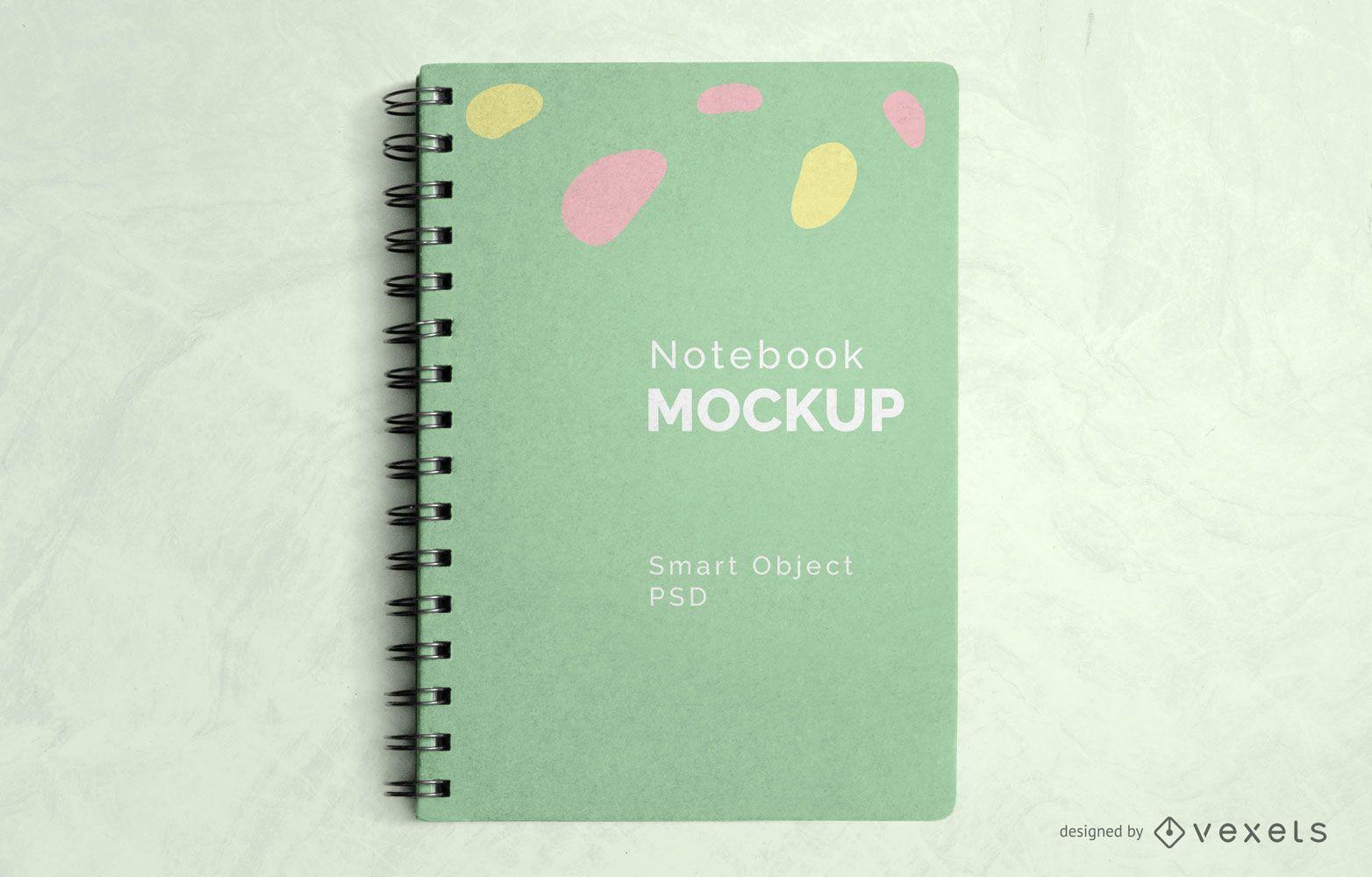 Mockup de cuaderno espiral psd