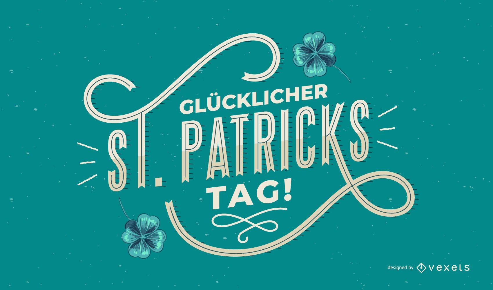Happy st patricks german lettering