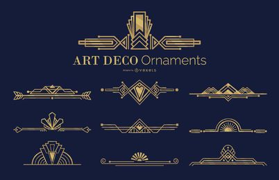 Art deco ornaments set
