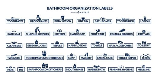 Bathroom organization labels set