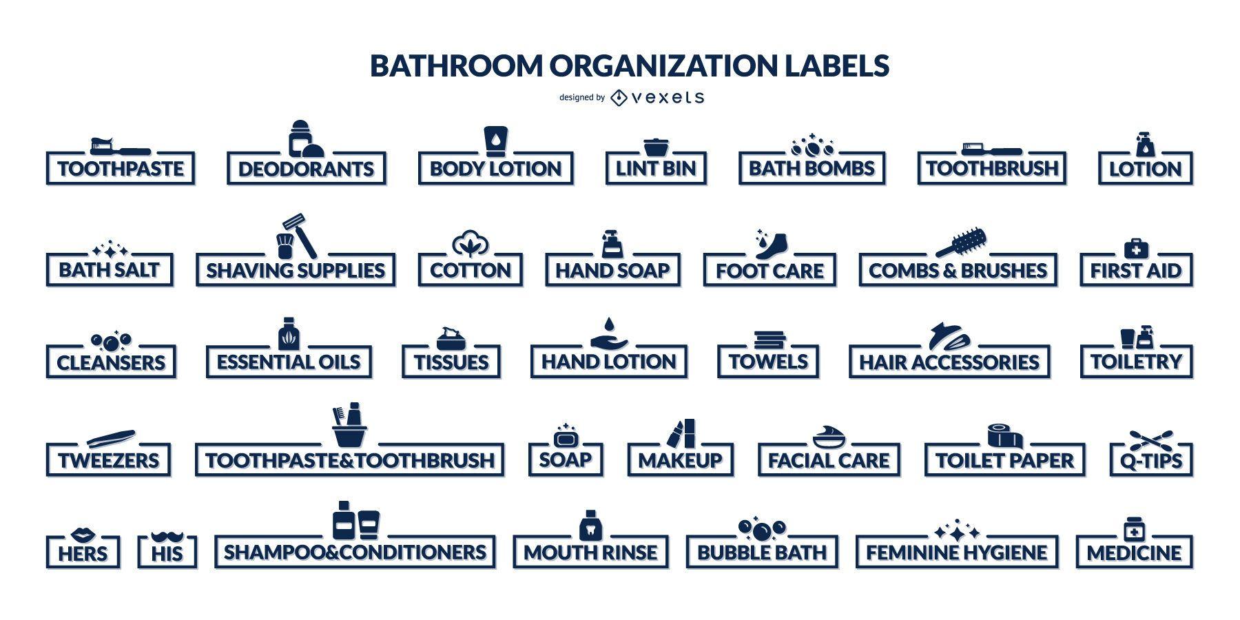 Bathroom organization labels set