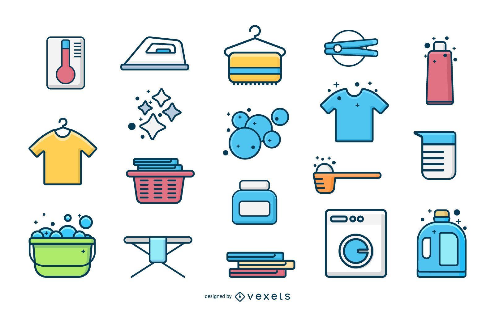 Coleção plana de elementos de lavanderia