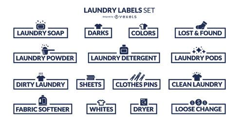 Conjunto de etiquetas de organização de lavanderia