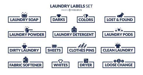 Conjunto de rótulos de organização de lavanderia