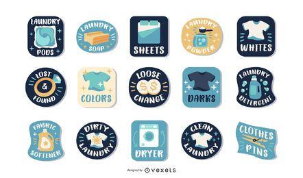 Conjunto de etiquetas de lavandería