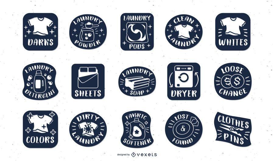 Conjunto de etiquetas de lavandería azul