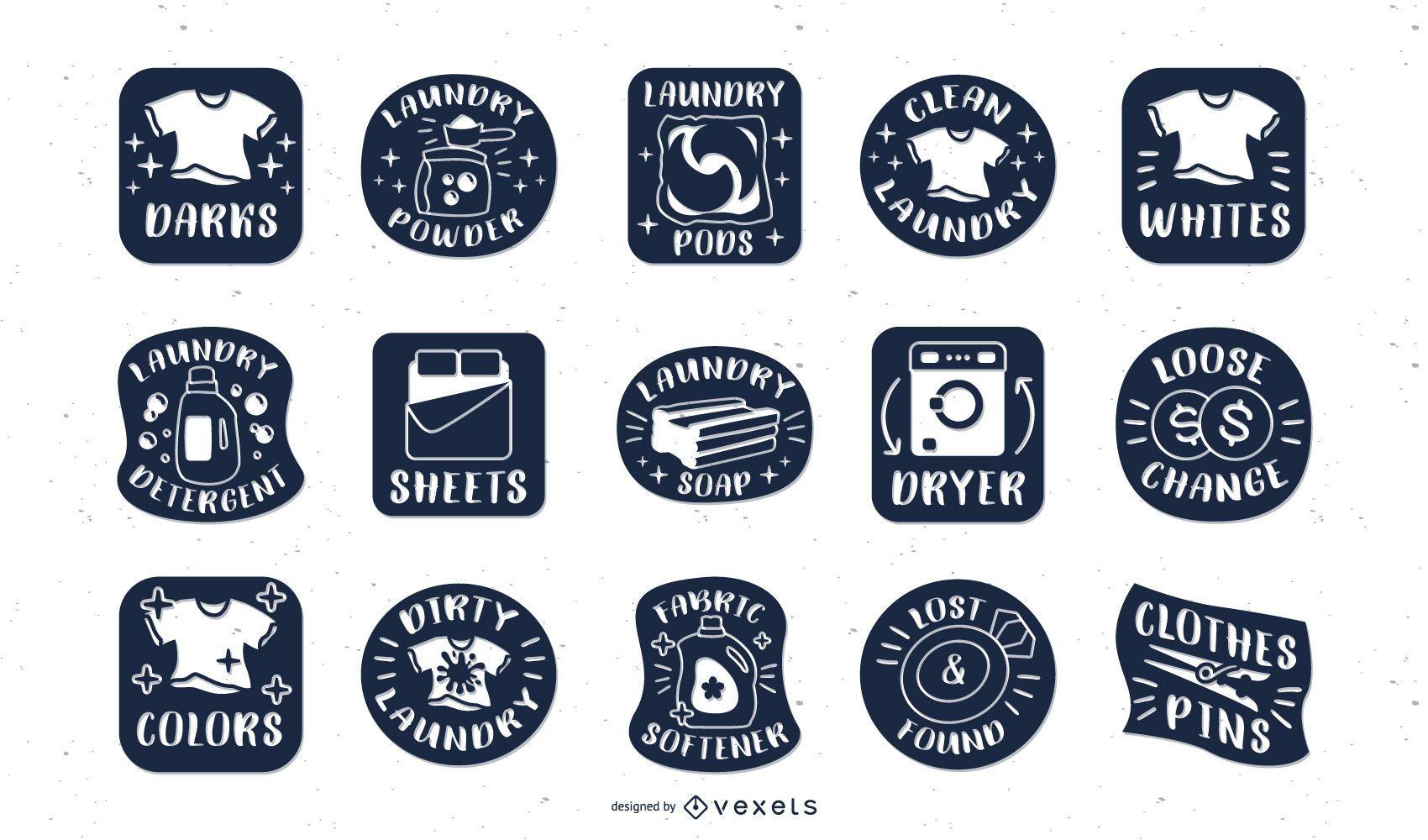 Laundry labels blue set